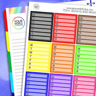 Weekly Full Box Planner Stickers - Brights