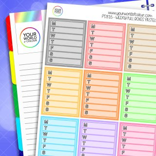 Weekly Full Box Planner Stickers - Pastels