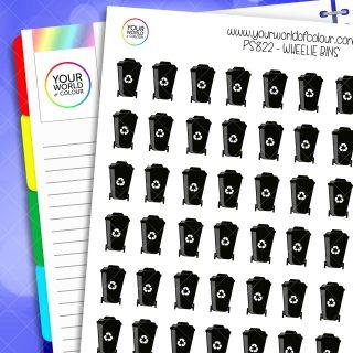 Wheelie Bin Planner Stickers - Black