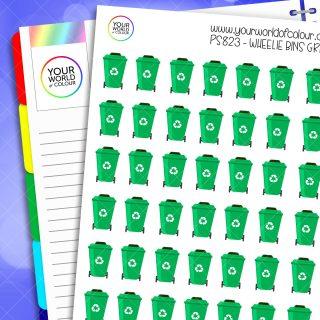 Wheelie Bin Planner Stickers - Green