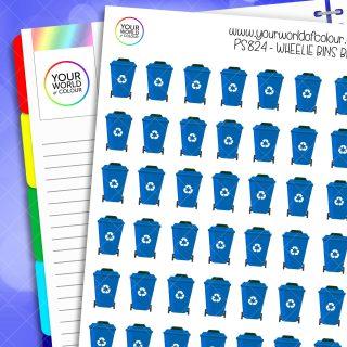 Wheelie Bin Planner Stickers - Blue