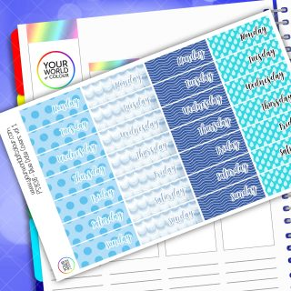 Date Cover Planner Stickers - Blue Vol 1