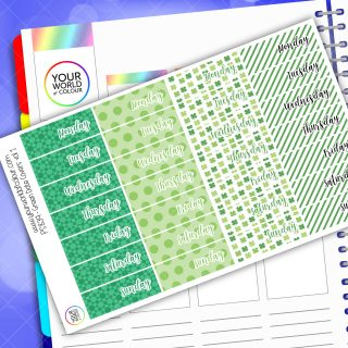 Date Cover Planner Stickers - Green Vol 1