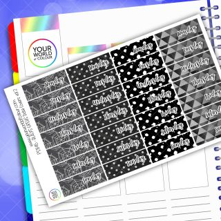 Date Cover Planner Stickers - Blacks Vol 2
