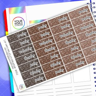 Faux Glitter Date Cover Planner Stickers - Brown Vol 1