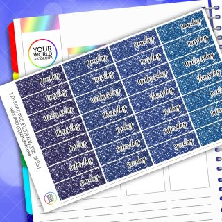 Faux Glitter Date Cover Planner Stickers - Blue Vol 1