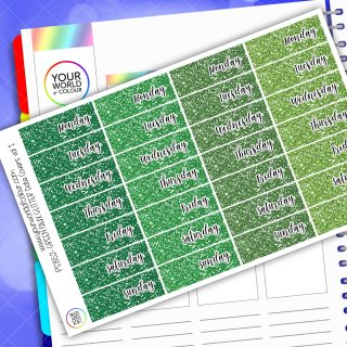 Faux Glitter Date Cover Planner Stickers - Green Vol 1