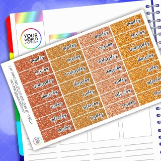 Faux Glitter Date Cover Planner Stickers - Orange Vol 1