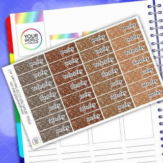 Faux Glitter Date Cover Planner Stickers - Brown Vol 2