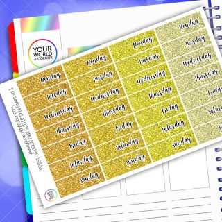 Faux Glitter Date Cover Planner Stickers - Yellow Vol 1