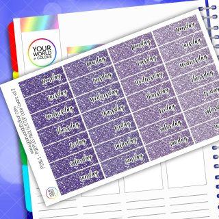 Faux Glitter Date Cover Planner Stickers - Purple Vol 2