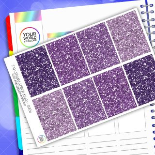 Glitter Header Planner Stickers - Purple Vol 2