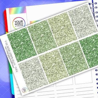 Glitter Header Planner Stickers - Green Vol 3
