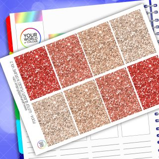 Glitter Header Planner Stickers - Red Vol 2