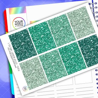 Glitter Header Planner Stickers - Turquoise Vol 1