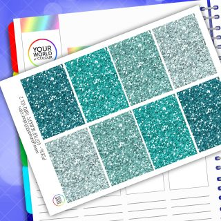 Glitter Header Planner Stickers - Turquoise Vol 2