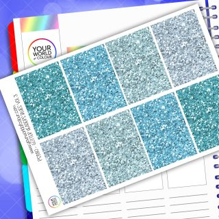 Glitter Header Planner Stickers - Blue Vol 3