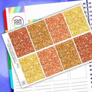 Glitter Header Planner Stickers - Orange Vol 1