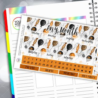 Halloween Treats Monthly Overview Sticker Kit