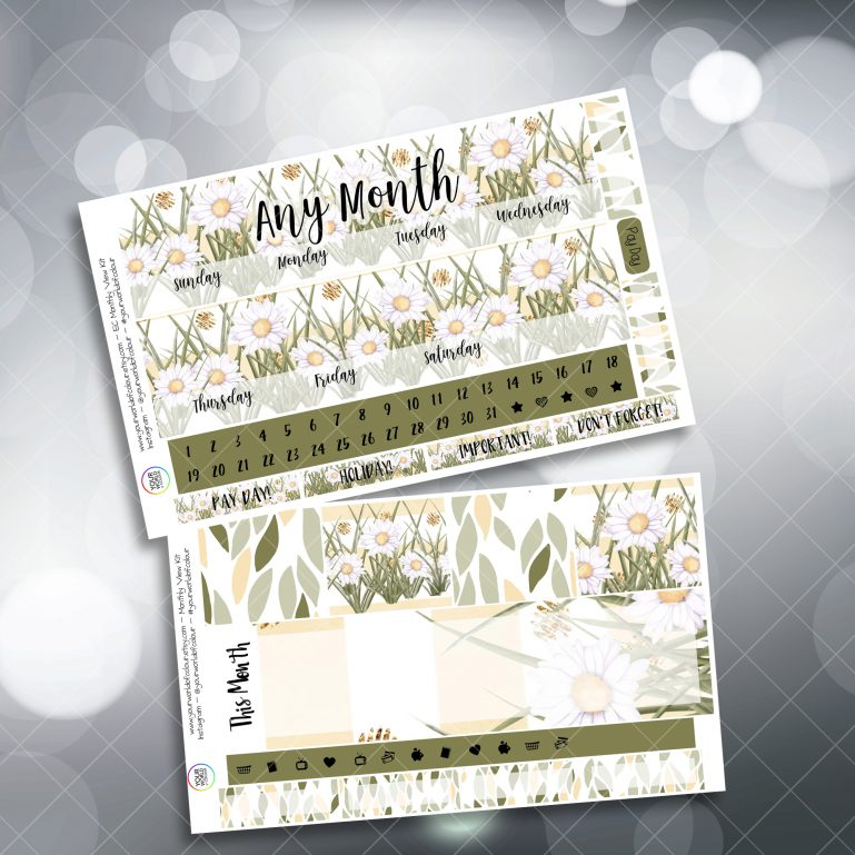 Muted Spring Two Sheet Monthly Overview Sticker Kit