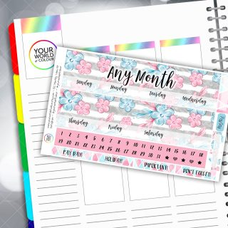 Floral Pastel Two Sheet Monthly Overview Sticker Kit