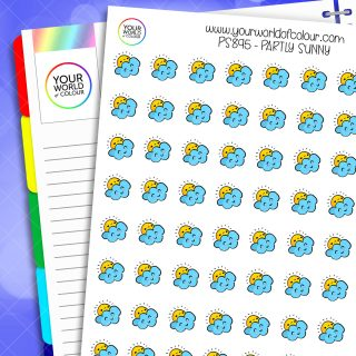 Partly Sunny Weather Planner Stickers