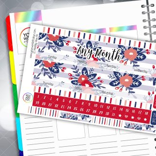 Patriotic Floral Erin Condren Monthly Planner Sticker Kit