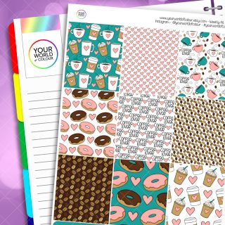 Coffee Lover Erin Condren Weekly Planner Sticker Kit
