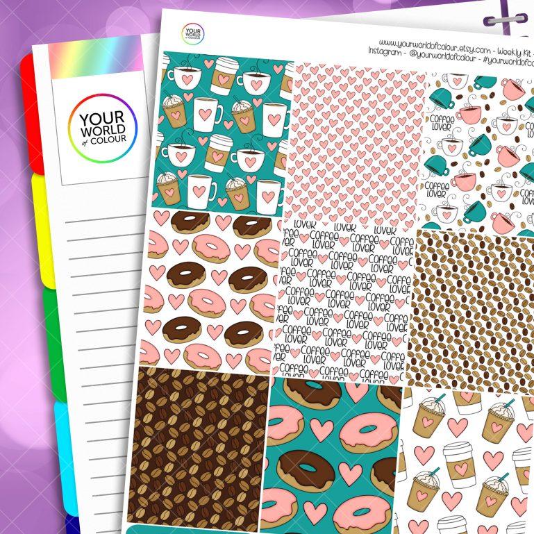Coffee Lover Erin Condren Weekly Planner Sticker Kit