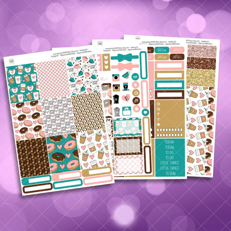 Coffee Lover Full Four Sheet Weekly Planner Sticker Kit