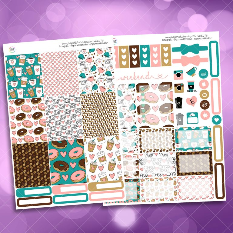 Coffee Lover Two Sheet Weekly Planner Sticker Kit