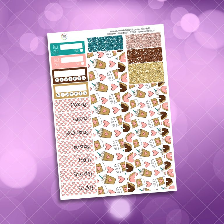 Coffee Lover Washi and Date Cover Stickers