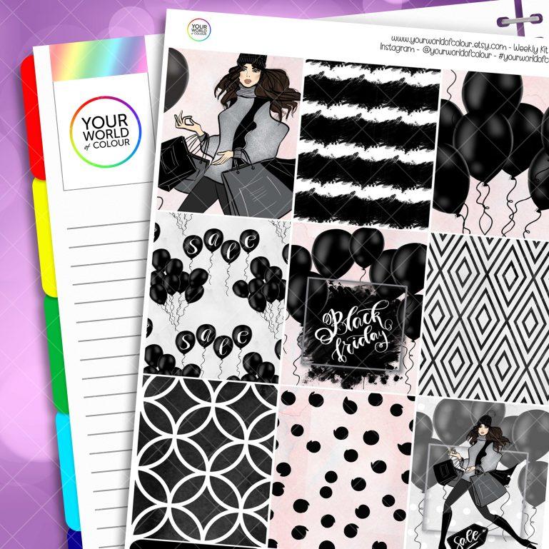 Black Friday Erin Condren Weekly Planner Sticker Kit