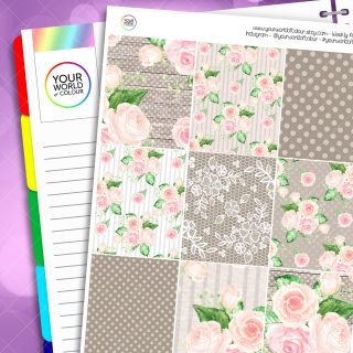 Country Garden Rose Erin Condren Weekly Planner Sticker Kit