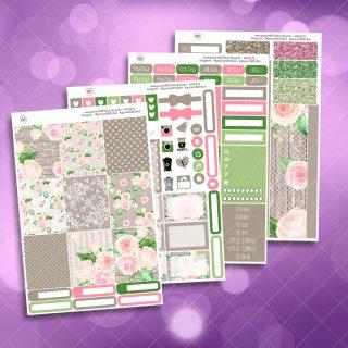 Country Garden Rose Full Four Sheet Weekly Planner Sticker Kit