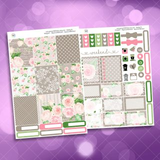Country Garden Rose Two Sheet Weekly Planner Sticker Kit