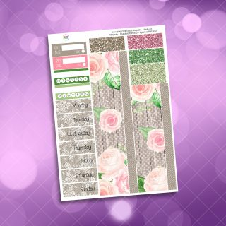 Country Garden Rose Washi and Date Cover Stickers