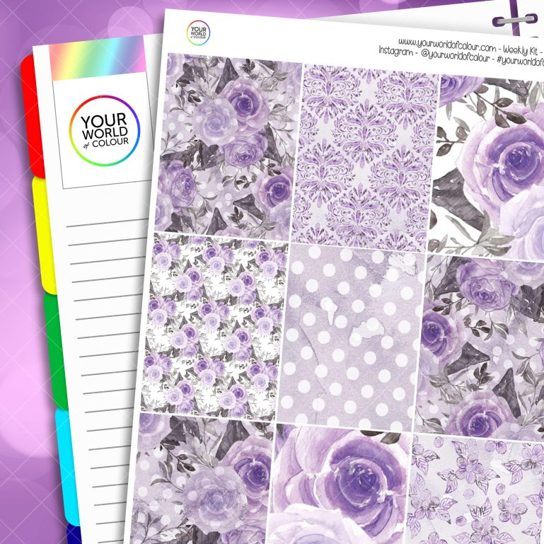 Mystic Purple Roses Erin Condren Weekly Planner Sticker Kit