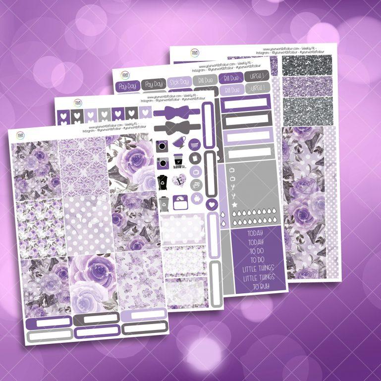 Mystic Purple Roses Full Four Sheet Weekly Planner Sticker Kit