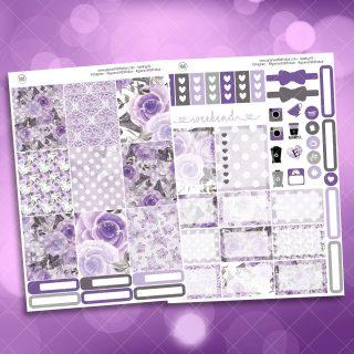 Mystic Purple Roses Two Sheet Weekly Planner Sticker Kit