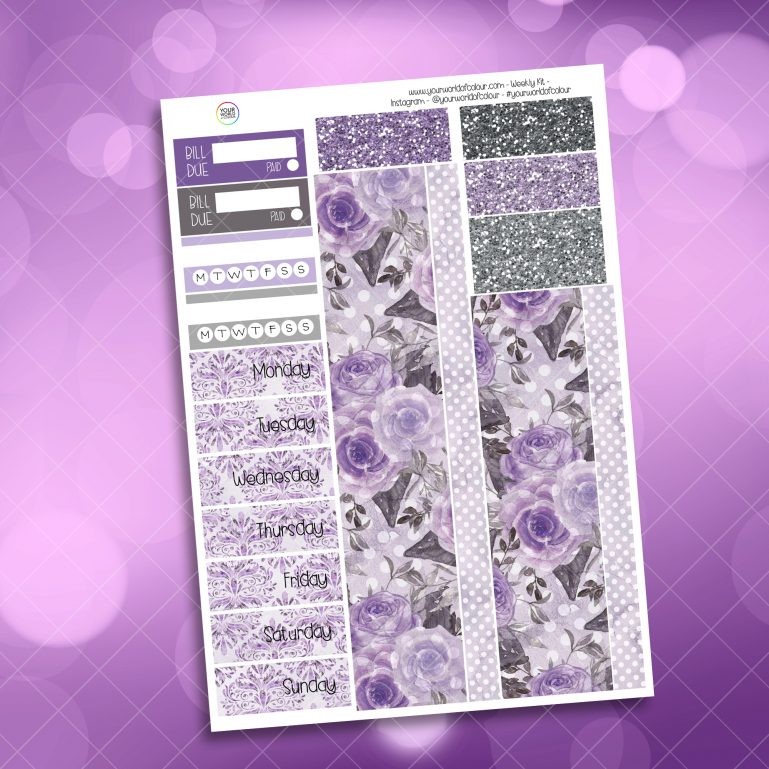 Mystic Purple Roses Washi and Date Cover Stickers