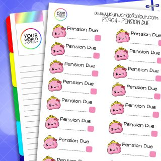 Pension Due Planner Stickers