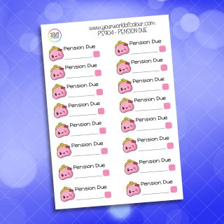 Pension Due Planner Sticker