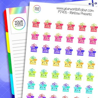 Rainbow Present Planner Stickers