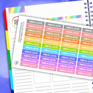 Annual Leave Planner Stickers - Pastel
