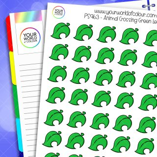 Animal Crossing Leaf Planner Stickers - Bright Green