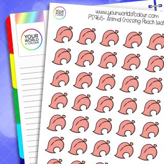 Animal Crossing Leaf Planner Stickers - Peachy Pink