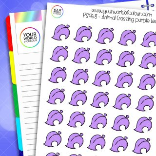 Animal Crossing Leaf Planner Stickers - Purple