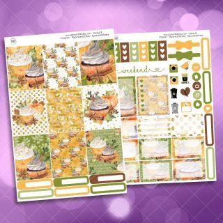 Pumpkin Spice Two Sheet Weekly Planner Sticker Kit