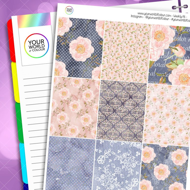 Blush Floral Erin Condren Weekly Planner Sticker Kit